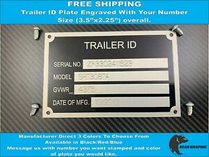 Trailer Id Tag Plate Data Engraved With Number Identification Tag Vin Free Ship