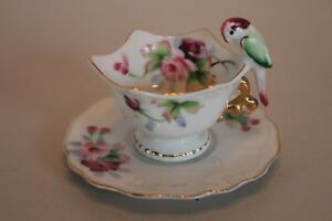 Vintage M T Miniature Parrot Handle Japan Demitasse Cup And Saucer Hand Painted