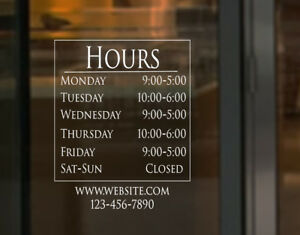 Store Business Hours Sign Vinyl Decal Hrs 00008