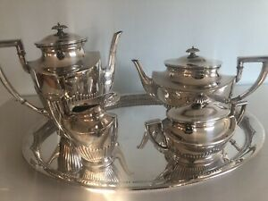 Art Deco Kuhn Sterling Silver Tea Coffee Set With Tray 2830 Gr