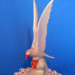 Vintage Hungarian Hollohaza Porcelain Small Seagull Wave Handpainted Marked