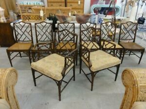 Set Of 8 Faux Bamboo Chippendale Chairs