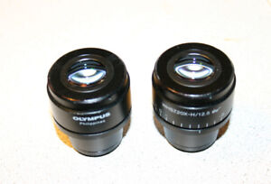 Pair Olympus Whsz20x h12 5 Eyepieces Stereozoom Microscopes Adjustable Diopter