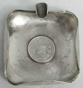 1871 1867 Peruvian Coin Hand Made Heavy Sterling Silver Ash Tray