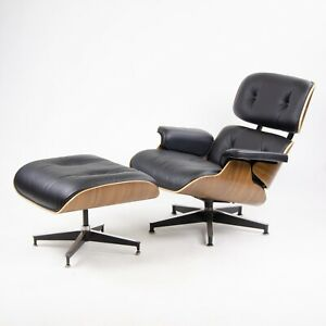 New 2015 Herman Miller Eames Lounge Chair Ottoman Walnut 670 671 Black Leather