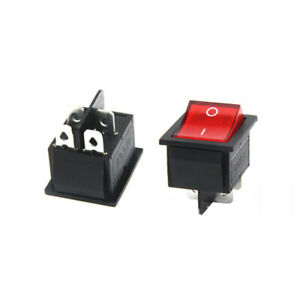 2 Pcs Red Button On off 4 Pin Dpst Boat Rocker Switch For 16a 250v 20a 125v Ac