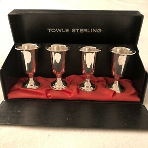 4 Towle Sterling Silver 3 Fluted Cordial Cups