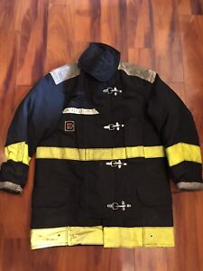 Firefighter Chieftain Stedair 2000 Turnout Bunker Coat 42x32 2002 Black Costume