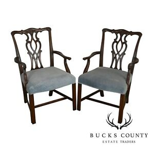Chippendale Style Custom Quality Pair Mahogany Arm Chairs