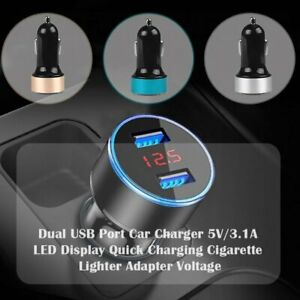 Us Dual Ports 3 1a Usb Car Auto Cigarette Charger Lighter Digital Led Voltmeter
