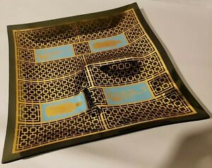 Great Mid Century Modern 12 Glass Chip Or Snack Dish W Asian Design