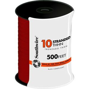 Wire 10 Gauge Stranded Thhn 500 Ft Red 600v Single Conductor Home Electrical