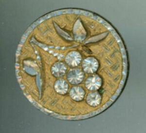 Beautiful Grapes Button Pewter Bright Cut W Brass Tinted Woven Background 19th C