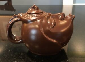 Signed Yixing Clay Head Face Teapot Mouth Spout