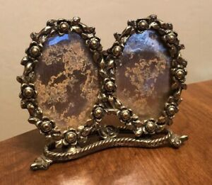 Vintage Gilted Metal Double Oval Molded Floral Small Picture Photo Frame Ornate