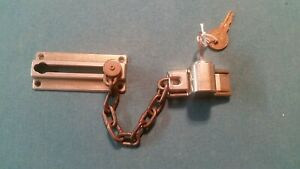 Vintage Brass Deadbolt Door Lock With Security Chain Patented 2 Keys