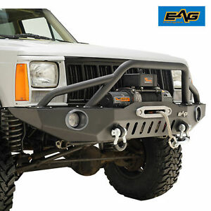 Eag Fits 84 01 Jeep Cherokee Xj Steel Front Bumper W Led Lights