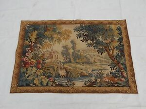 Vintage French Beautiful Verdure Tapestry Rare 140x95cm