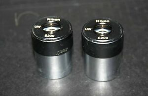 Pair Of Nikon Uw S20x Eyepieces For Stereozoom Microscopes 30mm Barrel