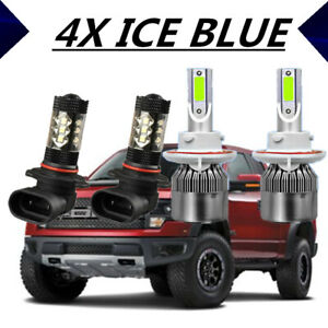 4x Cob Led Headlight Hi lo fog Light Kit For Ford F 150 2004 2014 Ice Blue 8000k