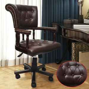 Executive Office Chair Leather Desk Seat High Back Swivel Adjustable Home Brown