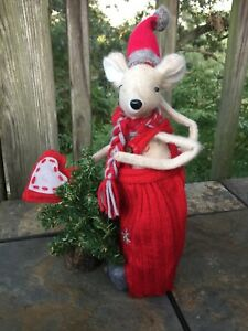 Vintage Primitive Christmas Mouse Tree Red Pajamas Heart Tale Doll 12 8 J8