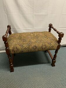 Antique Victorian Walnut Wood Vanity Piano Stool Seat Bench