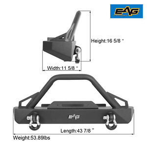 Eag Front Bumper With Winch Plate Hoop Fit For 87 06 Jeep Wrangler Tj Yj