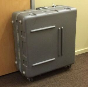 Shipping Case Hard Plastic Padded Foam Crate Gig Roadie On Wheels 12 x25 x28
