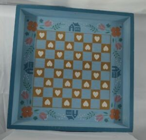Primitive Folk Art Blue Checkerboard Sign Display Hand Painted Crowning Touch