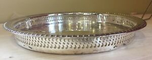 Vintage Wm Rogers Silverplated Gallery Style Serving Tray 12 5 Diameter