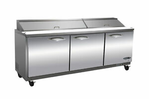 Ikon Ksp72 Commercial Sandwich salad Prep Table Cooler Three section Ss Nsf