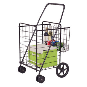Foldable Shopping Cart Grocery Laundry Travel Jumbo Basket Push Swivel Wheels