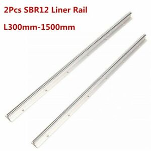 2x Sbr12 300 400 500 600 800 1000 1200 1300 1500mm 12mm Linear Rail Guide Shaft