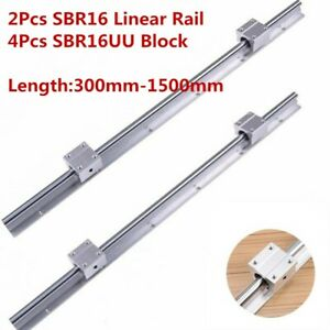 2x Sbr16 L300 1500mm Linear Bearing Rail 16mm Slide Guide Shaft 4x Sbr16uu Block