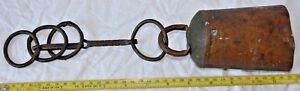 Huge Antique Primitive Handmade Cow Bell Clinker Original Clapper