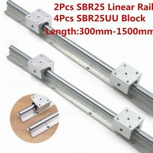 2x Sbr25 L300 1500mm Linear Bearing Rail 25mm Slide Guide Shaft 4x Sbr25uu Block