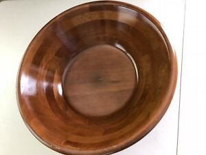 Heller Ware Large Wooden Overlay Bowl 18 Across Top