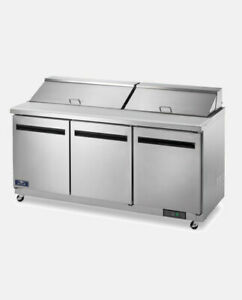 Arctic Air Ast72r 72 Commercial 3 Door Refrigerated Sandwich Prep Table Cooler