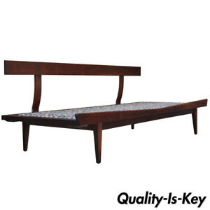 Vintage Sculpted Walnut Mid Century Danish Modern Sofa Daybed After Pearsall