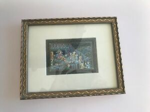 Vintage Framed Antique Manuscript Page Persian Indian Miniature Painting Detail