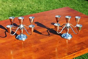 Pair Of Towle Weighed Sterling Silver 5 Arm Convertible Candelabras Candle Stick