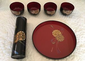 Kansai Yamamoto Japanese Lacquer Ware Bowl Set Of 4 W Pitcher