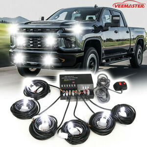 120w 6 Led Hid Bulbs White Hide A Way Emergency Warning Strobe Light System Kit