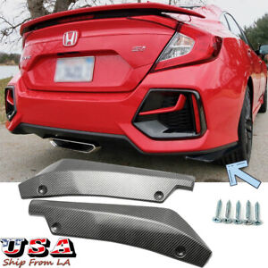 Carbon Fiber Rear Bumper Lip Splitter Diffuser Canards Protector For Honda Civic