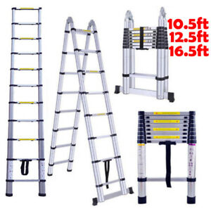 10 5 12 5 16 5ft Aluminum Telescopic Ladder Extension Multi Purpose Portable Usa