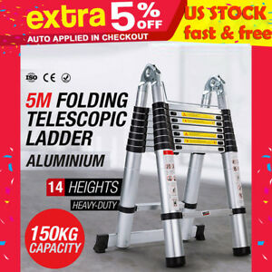 16 5ft Heavy Duty Giant Aluminum Ladder Extention Ladder Folding Telescopic Step