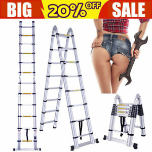 16 5ft Giant Aluminum Multi Purpose Telescopic Ladder Extension Foldable Step Us