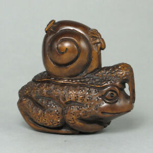 Boxwood Wood Netsuke Snail Frog Figurine Carving Wn320