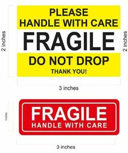 1 X 3 Red Fragile Stickers Do Not Drop Yellow Fragile Sticker Handle With Care